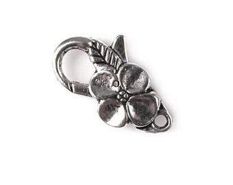 2 clasp karabiner Silver Flower necklace