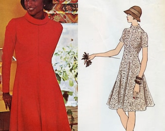 Vogue 2919 DRESS PATTERN Fit & Flare Dress Rolled Bias Collar Sybil Connolly Vogue Couturier Bust 31 32 Size 10 UNCuT Womens Sewing Patterns