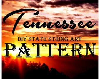 "Tennessee - DIY State String Art Pattern - 12"" x 3"" - Hearts & Stars included"