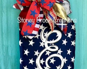 Patriotic Stars Mason Jar Door Hanger Americana Blue Red White Blue Outdoor Fabric Non Burlap