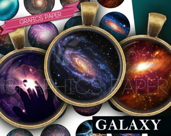 "Galaxy images, Galaxy Circles, digital collage sheet 1 inch Circles, 1.5"", 1.25"", 30mm, 25mm, Jewelry Supplies, Pendants images - td356"