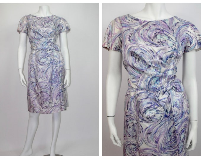 1960's Purple and Blue Watercolour Print Wiggle Dress // Hudson's Bay Co. // Marilyn Monroe Style Dress // Spring Party //  Ladies Size 6