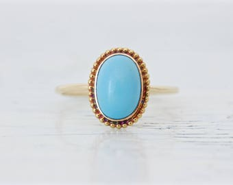 Vintage Reclaimed Turquoise Ring | Customized Cufflink Ring | Bezel Set December Birthstone | 14k Yellow Gold Promise Ring | Size 7.25