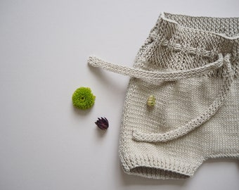 Hand-knitted shorts - 100% cotton - 0/6m to 2/3y