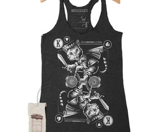 Cat Shirt - Women's Tank Top of Cat Riding a Bicycle Size Small to XXXL