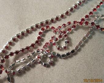 """2mm Cupchain, Silver-Finished Brass, Bright Christmas Red Glass Stones - Available in 6"""" to 36"""" Cut Lengths"""