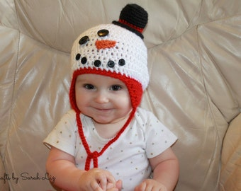 Infant Snowman Hat, Baby Snowman Hat, Toddler Snowman Hat, Crocheted Snowman Hat, Frosty the Snowman, Christmas Hat, Holiday Hat, Winter Hat