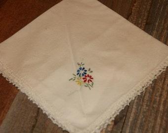 Vintage White Hankie Handkerchief  Hand Embroidered  Flower Design with Crochet Edge- Cotton Vintage Hankie