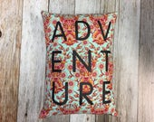 ADVENTURE Throw Pillow with Grey Denim Backing