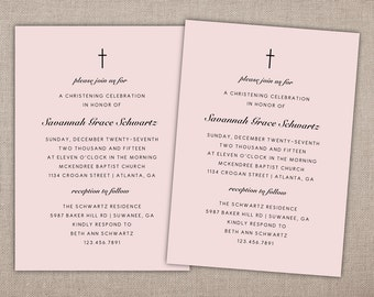 CHRISTENING - Invitation, Baby Girl Dedication Invitation, Pink Baptism Invitation, First Communion Invitation, Simple Baptism Invitation