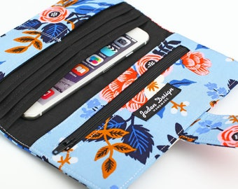 Floral Clutch Wallet, Women's Long Wallet, Fabric Travel Wallet, Bifold Wallet Organizer, Slim Organizer Wallet - coral red flowers in blue