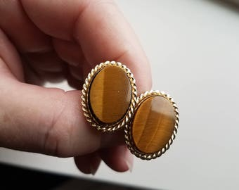 Polished Stone Tigers Eye Cuff Links