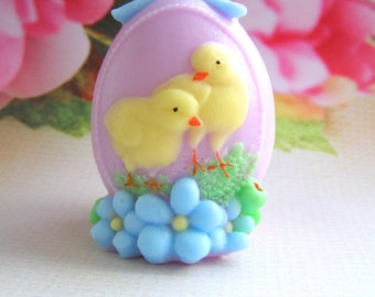 Easter Egg with Chickens Mold Ester Egg with Flowers Mold 3d Easter Egg Mold Easter Soap or Chocolate Mold Easter Gift Idea Easter Basket