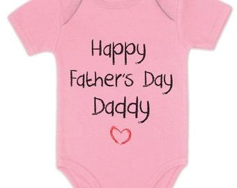 Happy Father's Day Daddy Baby Short Sleeve Onesie Bodysuit