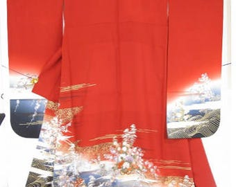 Japanese silk Red  Furisode (vintage)