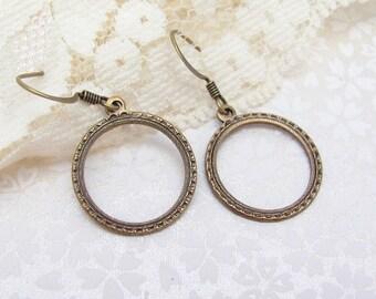 Hoop Earrings, Art Nouveau Earrings, Gift under 20, Gift for Sister Mom Aunt, Antiqued Gold , Ornate Bride, Clip On Earrings
