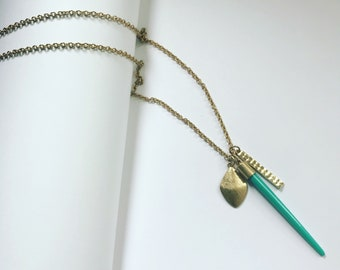 Turquoise Spear Charm Necklace