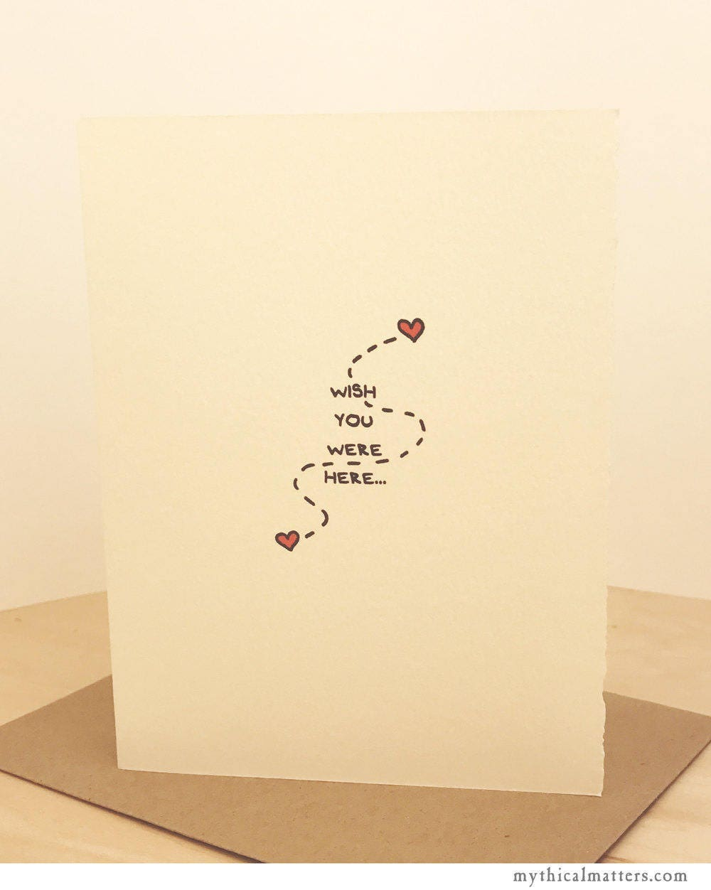 Wish You Were Here Miss You Greeting Card Cute Valentine Sentiment