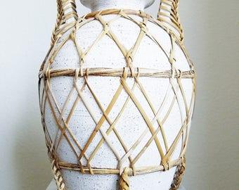 Wicker Wrapped White Double Handle Grecian Decorative Vase Vesel