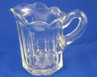 Vintage Glass Creamer, Vintage Kitchen, Clear Glass Panel Cream Pitcher, Star Bottom,  Petal Rim, EAPG Galloway Pattern US Glass