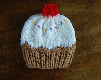 Knit Hat - Vanilla Ice Cream with Sprinkles : Baby Hat, Toddler Hat, Child Hat