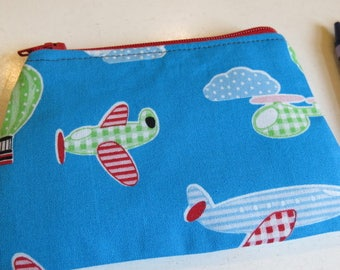 Planes coin purse, helicopter purse, child's purse, kids purse, air travel
