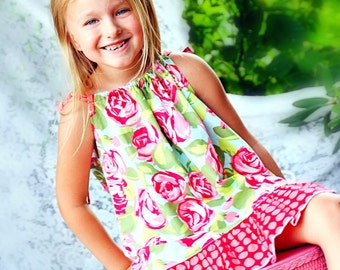 Pillowcase Dress Pattern with ruffles Tutorial by Whimsy Couture 0 months-12 girls PDF Instant