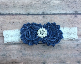 Denim Headband - Shabby flower headband - Denim and ivory headband - headband - Lace headband - Baby girl headband - Ivory - Country baby