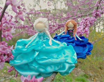 Elsa and Anna~ Bendy Dolls ~ Snowflake Winter ~ Designer Waldorf Flower Dolls ~ Snow Sisters ~ Fairy Bendy Doll