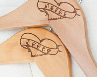 Classic Tattoo Style Hanger set for Bride's wedding dress and Groom's Tux/Suit - Engraved Hangers