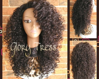 ON SALE // Big Kinky Curly Half Wig, Ombre Wig, Beach Curly Afro Wig, African American Wig // FAVOR