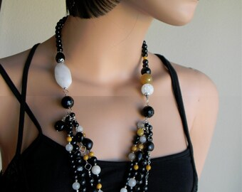 Black Onyx Yellow Jade and White Quartz Long beaded Women's Necklace Sterling Silver