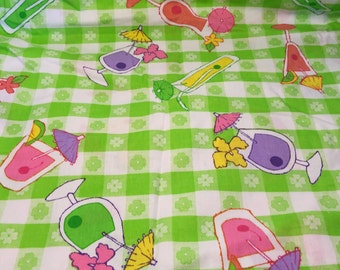 Green Checkered Fabric, Clovers & Mixed Drinks