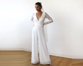 Ivory Long Sleeves Wedding Jumpsuit, Plunge Front Wide Leg Lace Jumpsuit 1169