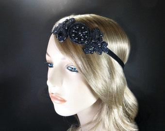 Flapper Headpiece Gunmetal Beaded Headband, Flapper Headband, 1920s Headband, Art Deco Headband, Gatsby Headband, Great Gatsby Headpiece