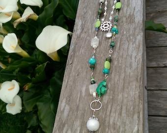 Necklace Long Green White Black Gems Gift