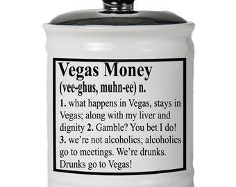 Vegas Money Word Jar - Vegas Jar - Gambler Gift