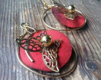 Red earrings with butterfly, handmade, unique, unusual, specific, beutiful