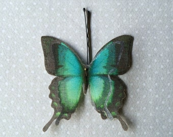 Handmade Butterfly Swallowtail Hair Bobby Pin in Teal and Black Cotton and Silk Organza Fabric - 1 piece