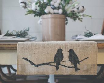 Burlap Table Runner, Table Runner, Bird Table Runner, Perched Birds, Farmhouse styleTable Runner * Free Shipping*