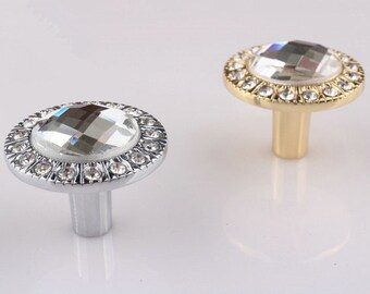 Knobs Crystal / Glass Dresser Knob Drawer Knobs Pull Handles / Kitchen Cabinet Pulls Knobs Decorative Knobs Silver Gold Handle Hardware