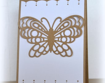 Hand cut Butterfly XL made kraft card envelope included