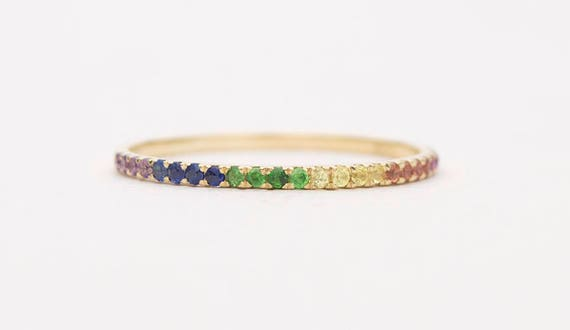 Rainbow Gemstone Ring 18 K Gold Ruby Sapphire Amethyst Tsavorite Birthstone Thin Wedding Band Half Eternity Stacking Rings Garnet Ad1103 Rnbw by Etsy