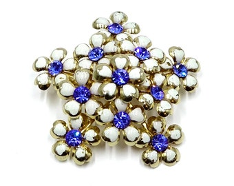 Coro Tiered Blue And White Flower Pin
