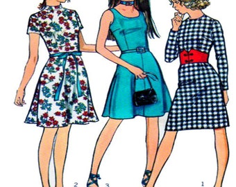 """70s, Dress Sewing Pattern, Simplicity 9552, Short Sleeve, High, Round, Scoop, Neckline, Fitted Bodice, Aline / Pencil Skirt, Bust 32"""", UNCUT"""