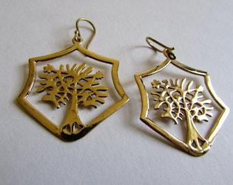 Brass Hexagon Shape Tree of Life Earrings, Earrings handmade,Yoga Earrings hooks, Nickel Free, Yoga Jewellery, Gift boxed,Free UK post BG10