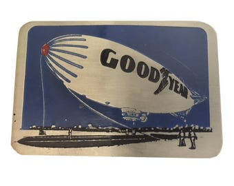 Vintage Goodyear Blimp Belt Buckle - Flying - Advertising Sports - Airship - Zeppelin - Sky - Logo - Fathers Day Gift Idea