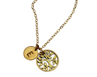 Family Tree - Tree of Life Gold Necklace - Hand stamped Disc, Initial Disc, Mothers Necklace, Geneology Necklace Sterling Silver Tree
