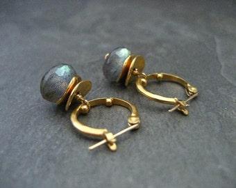 Labradorite earrings, hoop earrings, labradorite dangle, green blue, color flash, gold hoops, gemstone hoops