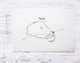 pencil drawing mother and child illustration, mother child art, gift for new mom, gift for mother, doodle art, mother daughter son ORIGINAL